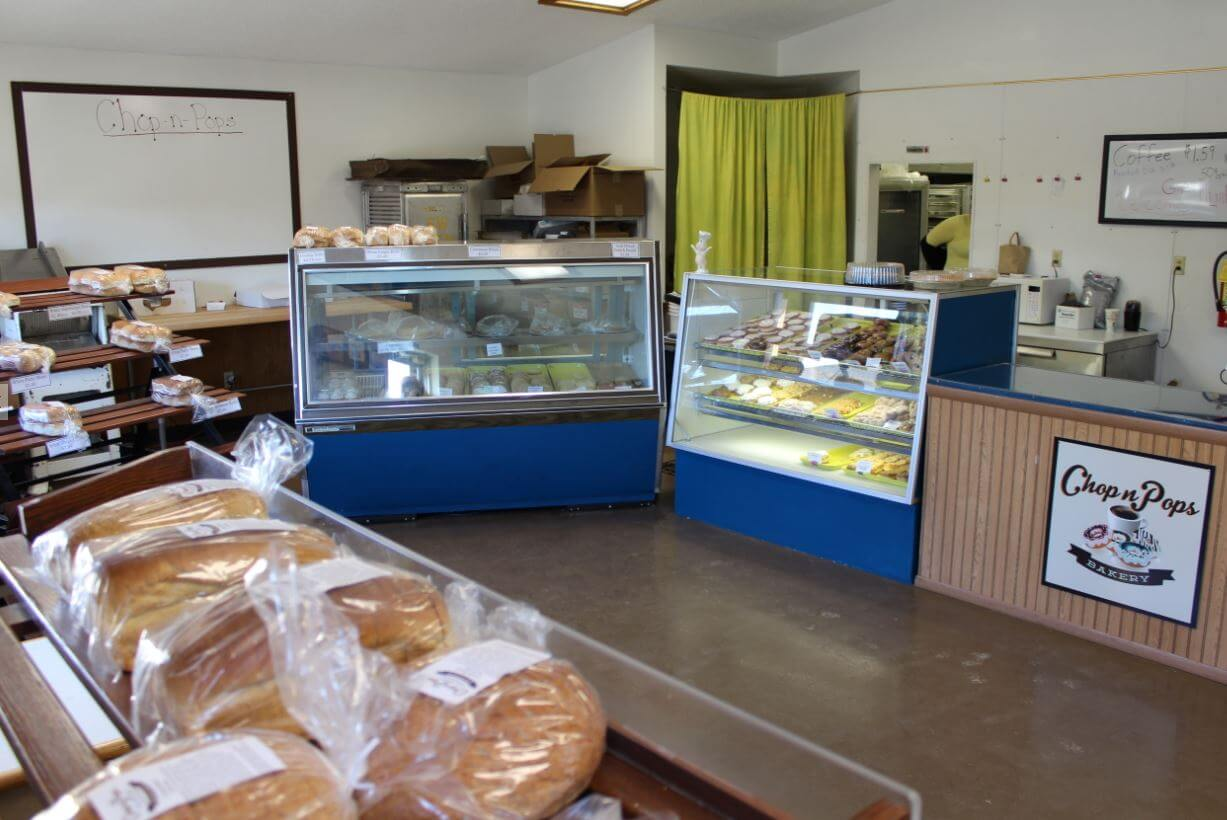 This is an Image inside the door of Chop n Pops bakery Nevis MN