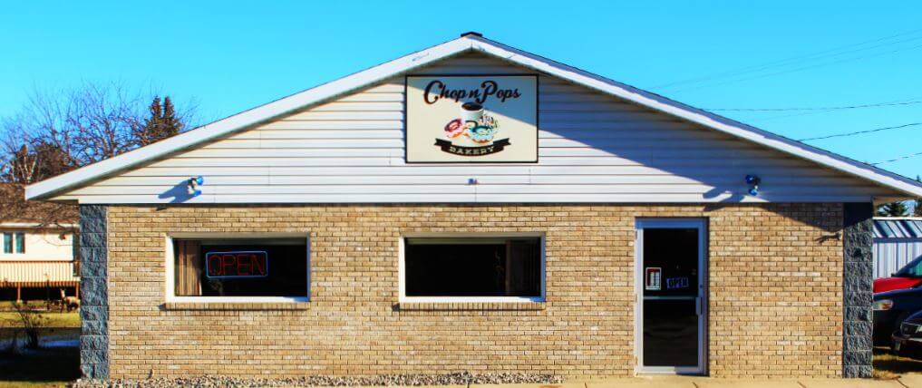 This is an image of Chop n pops bakery in Nevis Minnesota storefront